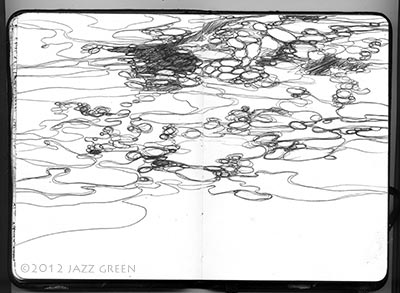 sketchbook biro drawing water moving