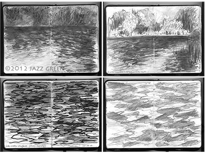 sketchbook studies drawings, lake water surfaces