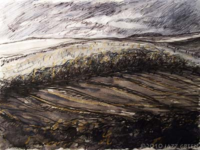sketchbook drawing - ploughed winter fields