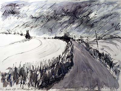 sketchbook drawing - hill road and fields