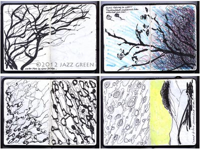 artist sketchbook, winter trees, water and abstract patterns, a landscape