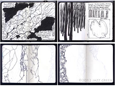 artist sketchbook, hedgerow, woods, tree, bark