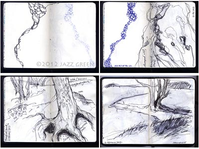 artist sketchbook, trees, roots, landscape, patterns