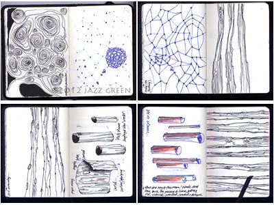 artitst sketchbook, abstract patterns, spindly thin trees, bark, wood, logs