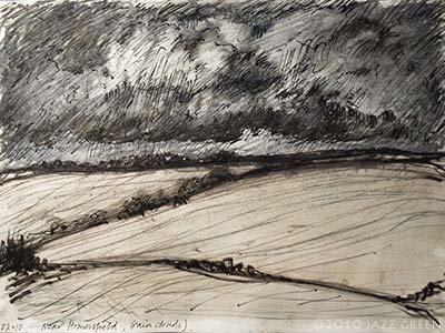 sketchbook drawing - stormy rain clouds over fields