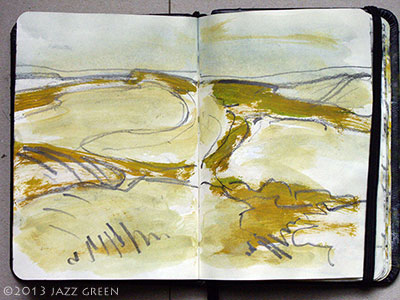 summer sketchbook rough sketch marsh landscape