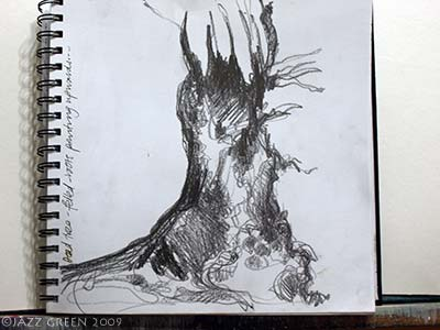 sketchbook drawings woodland - upturned dead tree with roots