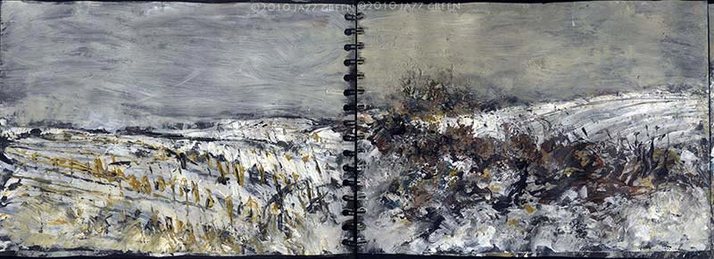 suffolk field snow landscape sketch