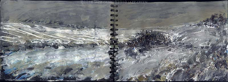 suffolk fields snow - sketchbook