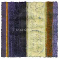 new abstractions on paper - mixed media - wabi-sabi - violet yellow orange striped colors