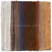 art for sale - new stripes abstract - mixed-media on paper - rustic wabi-sabi decay - brown blue textured stripe painting