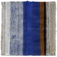 new abstract stripes on paper - mixed media - rustic wabi sabi erosion painting - blue orange stone grey colours