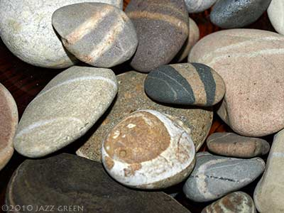 striated beach pebbles