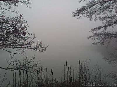 suffolk lake - winter mist - photograph