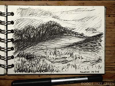sketchbook drawing - looking across field, pen on paper