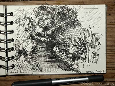sketchbook drawing - looking down country lane, pen on paper