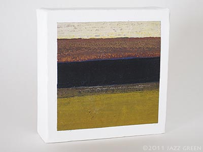 small abstract painting on canvas, ochre mustard brown blue-black strata stripes