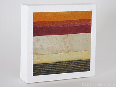 small abstract painting on canvas, red, sand, ochre, gold strata stripes