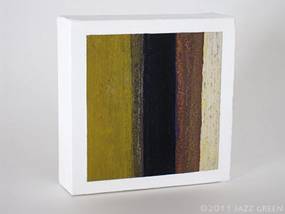 small abstract painting on canvas, copper, brown, ochre yellow stripes