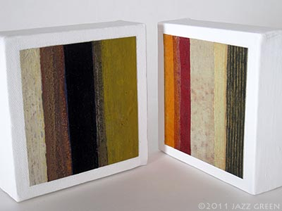 small abstract paintings on canvas, red, sand, ochre, brown, copper gold, strata stripes