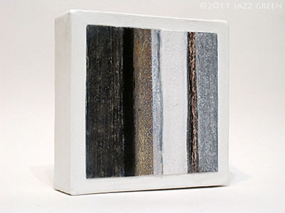 small abstract painting, barnwood - blue grey, brown and white textured stripes