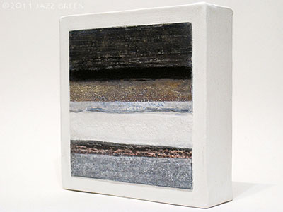 textures stripes square abstract painting, barnwood - greys, brown, light blue-grey, white striations