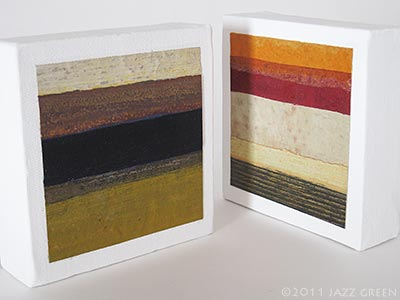 two very small abstract paintings on canvas, strata stripes