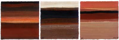 rich brown autumn hues - works on paper - three small abstracts