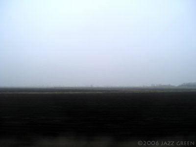 on a train, passing through the fens, winter fields