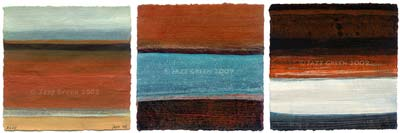 three abstract paintings on paper - gold brown turquoise