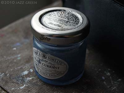 very small jam jar for sketching watercolours