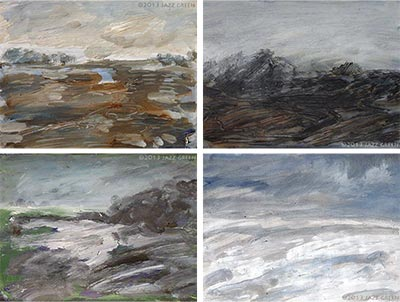 winter landscape sketchbook paintings