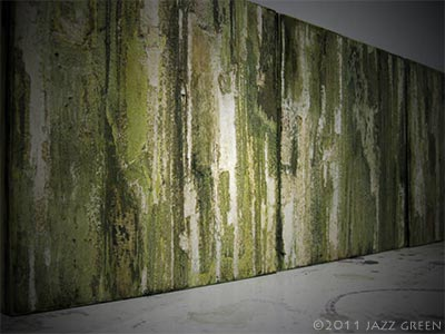 wood shed decay green bark textured abstract paintings triptych on panels
