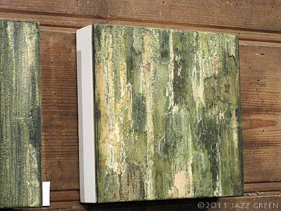 green wood bark textures - abstract painting - in art exhibition, suffolk, jazz green
