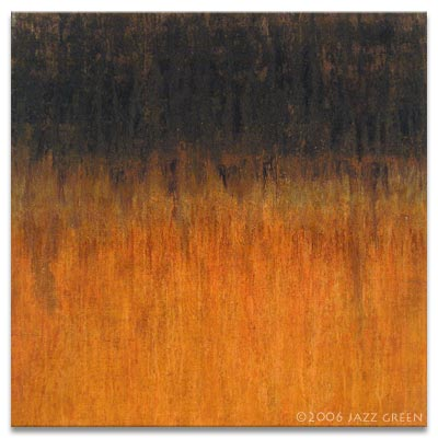 shrede - abstract textured painting - rust brown and orange