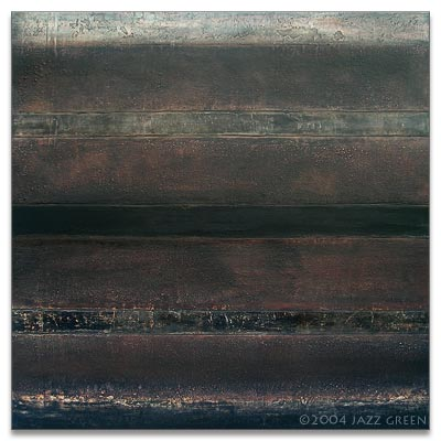 abstract landscape painting - old wall, black grey brown striations, textured
