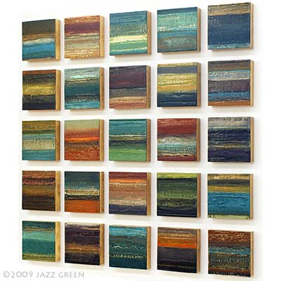 Contemporary mixed media textural abstract landscape paintings by British Fine Artist Jazz Green. An investigation into the patina and decay of eroded surfaces.